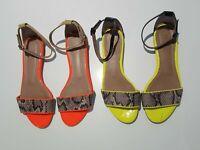 2x SEED Heritage size 39 / 8 / 8.5 leather snakeskin flats sandals yellow orange
