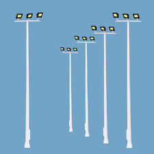 5pcs Model Railway HO Scale Plaza Lamppost Three-leds 13cm 1:87 Playground Light