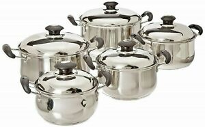 Stainless Steel Cookware Set Pots Sauce Pans 10 Pieces, Silver