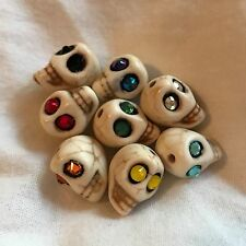 8 Howlite Stone Skull Beads with Glowing Swarovski Crystal Eyes Day of the Dead
