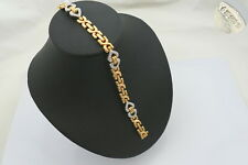 RARE HM 18ct YELLOW AND WHITE GOLD FANCY LINK DIAMOND BRACELET 23.19g