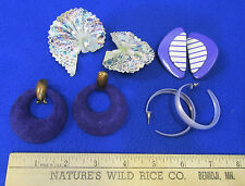 Vintage Jewelry Purple Earrings Pierced & Clip Lavender Hoop Lace Dangle lot 4