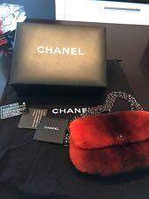 CHANEL Authentic BNWT & box Orange Fur Lapin Triple Chain Flap Handbag Sold Out