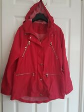 MS Womens Red Hooded Anorak Thin Jacket Zipped Pockets Casual Elegant Size 10