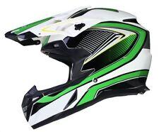 Caschi termoplastico verde motocross e quad per la guida di veicoli