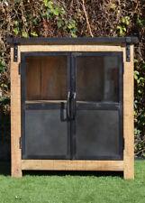 Vintage Industrial Metal Glass Door Timber Cabinet Cupboard Display Unit