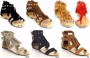 Women's New Fringed Studded Rhinestones Sandal Gladiators Tassels Shoes Sz 5-10