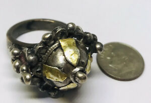 SIZE 8 18g STERLING SILVER MIDDLE EASTERN POISON RING SOLID ANTIQUE GOLD WASH