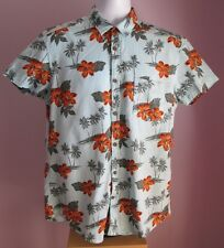 VTG Mens L.O.G.G.Blue/Orange Floral Hawaiian Shortsleeve Fitted Shirt Size M
