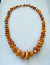 Beautiful Vintage Butterscotch Amber Large Natural Bead Necklace honey Egg Yolk