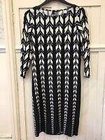 NEW LADIES WALLIS BLACK CREAM  PRINTED TUNIC DRESS SIZE 10 With Stretch