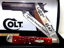 Case Xx Colt 1911/.45 Auto Combat Red Bone Trapper Knife Gold Color Etch/Box New