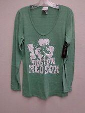 Boston Red Sox Womens Triblend Baby Jersey L/S U-Neck Shirt 447