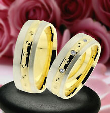 2 Trauring Eheringe Verlobungsringe , GOLD PLATIERT  J242-3