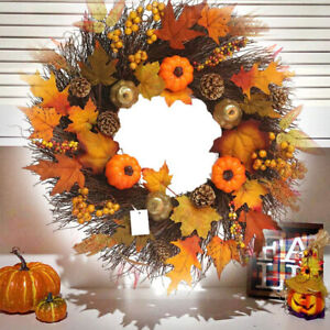18inch Fall Wreath Front Door Wreath W/Maple Leaf Pumpkin Decoration For Home