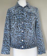 NWT Chicos Platinum Med Blue Wash Denim Jean Jacket Flocked Cheetah Spots 1 M 8