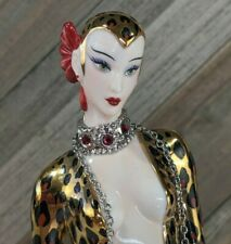 Vintage Franklin Mint - House of Erte Art Deco Ruby Porcelain Figurine : Leopard