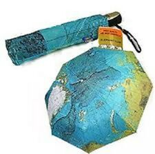 World Map Automatic Folding Compact Umbrella Three Elephants Sunshade Umbrella