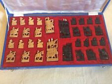 Antique Chess Set from India made from Hand Carved Sandalwood-Pristine Condition