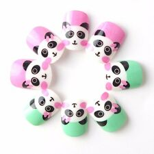20pcs Panda Children Kids Fake Nails Green Pink Small Hands Pre-glue Nails