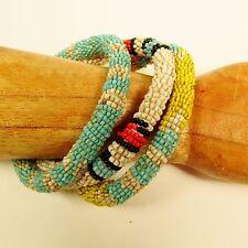 Set of 3 Southwestern Colors Handmade Beaded Bangle Bracelets