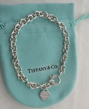 "Return To Tiffany & Co Mini Heart Bracelet Sterling Silver 925 7 3/4"" Long"