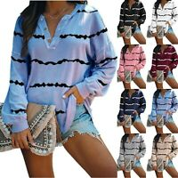 Womens Sweatshirt Long Sleeve Casual Tops Ladies Loose Pullover Blouse Shirt LIU