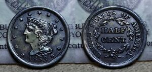 1853 Braided Hair Half Cent 1/2c Great Details Old Cleaning