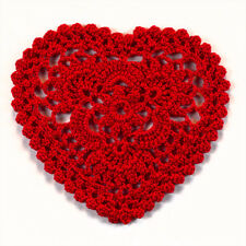 3 pcs Crochet Valentine Red Hearts Cotton Lace Coaster Doily Scrapbooking 4''
