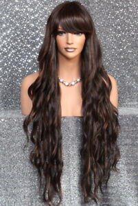 "Human Hair Blend 40"" Long Full Wig Heat OK Wavy bangs JSSH Black roots Brown mix"
