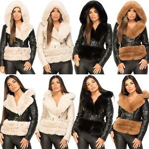 Womens PU Pvc Winter Coat Faux Vegan Leather Fur Collar Warm Hooded Biker Jacket