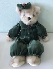 """THE BEARINGTON COLLECTION Bear Velour Green Long Slv Jumpsuit Bow Red Rose 17"""""""