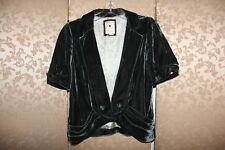 Anthropologie Elevenses Emerald Velvet Ruched GREEN WITH ENVY Jacket Blazer 12