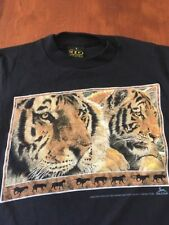 Vtg Unworn 3D EMBLEM TIGERS ~ BACK TO EARTH  T-SHIRT Boys Small Zoo 50/50