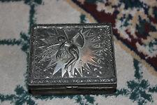 Vintage Japan Art Deco Cigarette Case Trinket Box-Angel Shooting Arrow-Silver