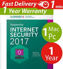 Kaspersky internet security 2017 ( 1 ) Pc / Mac ( 1 ) year Worldwide Lisence key