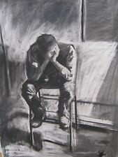 print of charcoal drawing on canvas by D A Phillips 40x60cm of thinking man