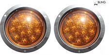 "Pair Round Amber 5"" LED FLUSH-MOUNT Turn Signal Parking Light TRUCK TRAILER"
