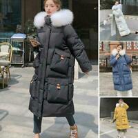 Lady Winter Puffer Coat Outwear Down Cotton Jacket Long Parka Faux Fur Collar
