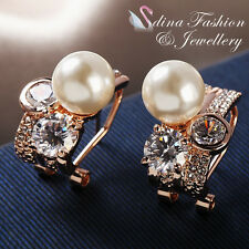 18K Rose Gold Plated Pearl & Diamond Luxury French Clip Cluster Stud Earrings