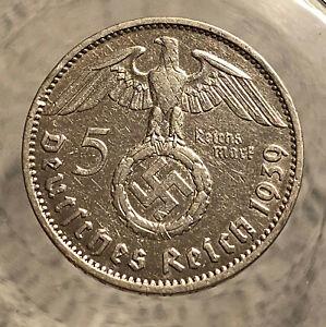 HINDENBURG WW II  GERMAN SILVER COIN 1939 J 5 Reichsmark 900 silver
