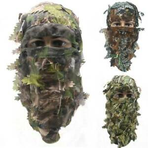 Camo Full Face Mask 3D Balaclava Hunting Camouflage Mask Hat Leaf Windproof Cap