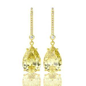 18K Yellow Gold Filled Yellow Citrine Crystal Beauty Water Drop Dangle Earrings