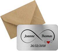 Personalised metal wallet card infinity love valentines wedding bride groom