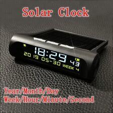 Solar LCD Digital LED Electronic Clock & Calendar for Car Truck New