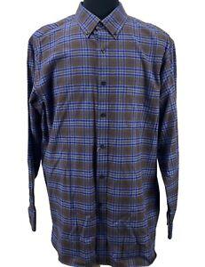 Men's Dress Shirt Size 2XL Brown Plaid Slim Daniel Cremieux Signature Collection