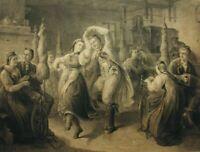 Genredarstellung, Bauerntanz in der Spinnstube, 19. Jahrhundert, Kupferstich