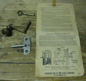 Howard Miller Clock Winding & Door Keys w/ Model 610-199 Directions