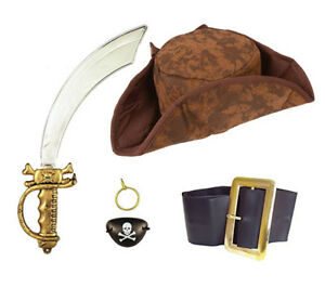 Caribbean Pirate Costume Set Hat Sword Eyepatch Belt Earring Fancy Dress Pirates
