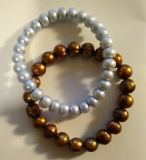 2x honora pearl stretch bracelet bronze copper & light blue gray pair bracelets